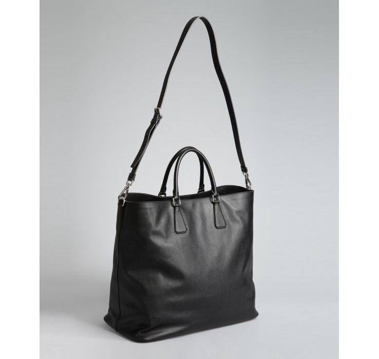 Prada Black Saffiano Leather Large Tote Bag in Black for Men | Lyst