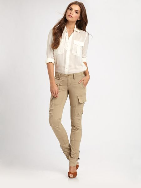 Amazing Lauren By Ralph Lauren  Khaki Straight Cotton Cargo Pant  Lyst