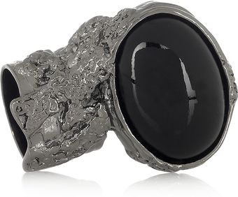 Yves Saint Laurent Arty Rutheniumplated Glass Ring - Lyst