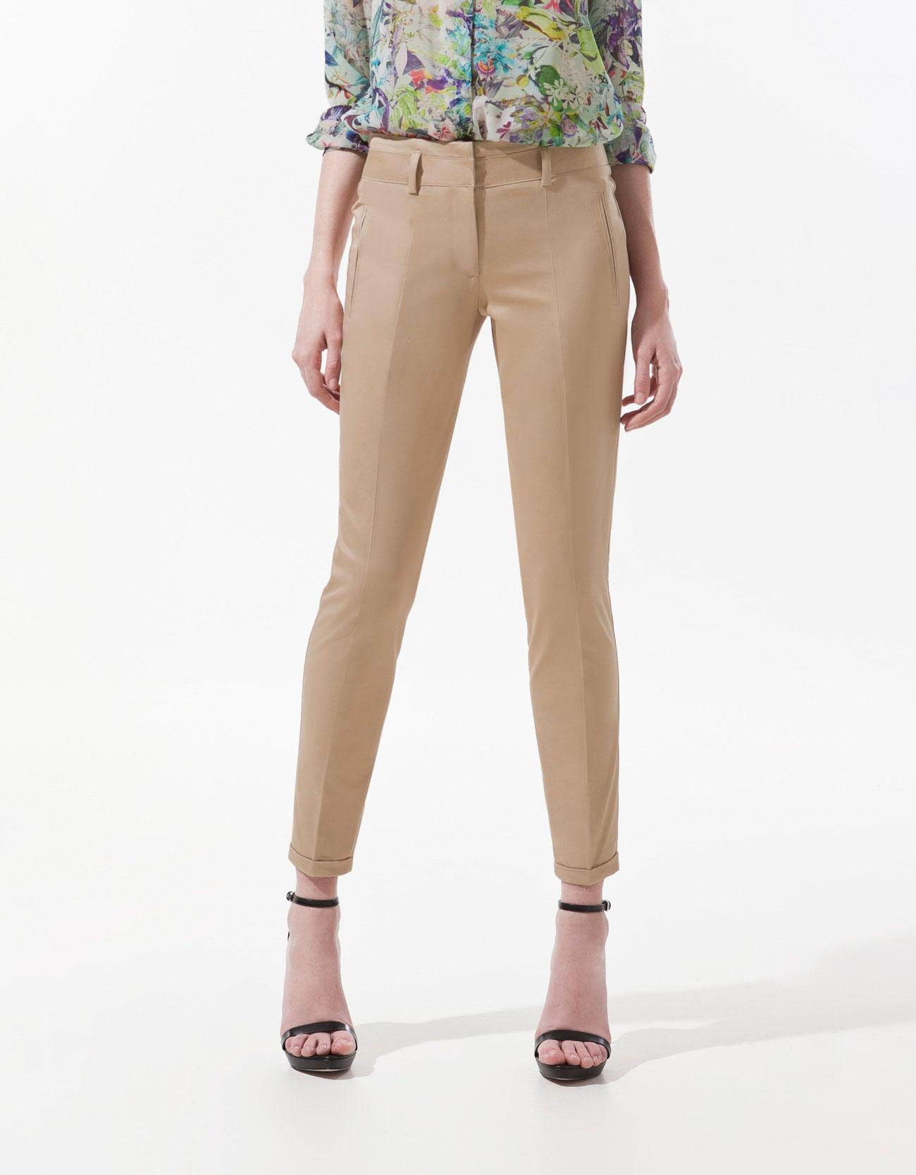 Zara Twill Capri Pants in Natural | Lyst