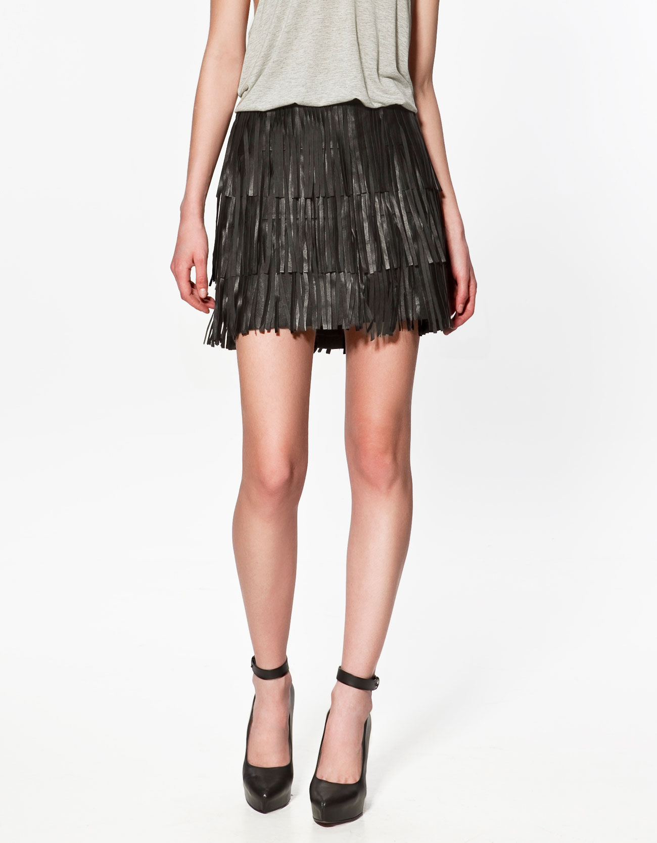 Zara Leather Fringed Skirt in Black | Lyst