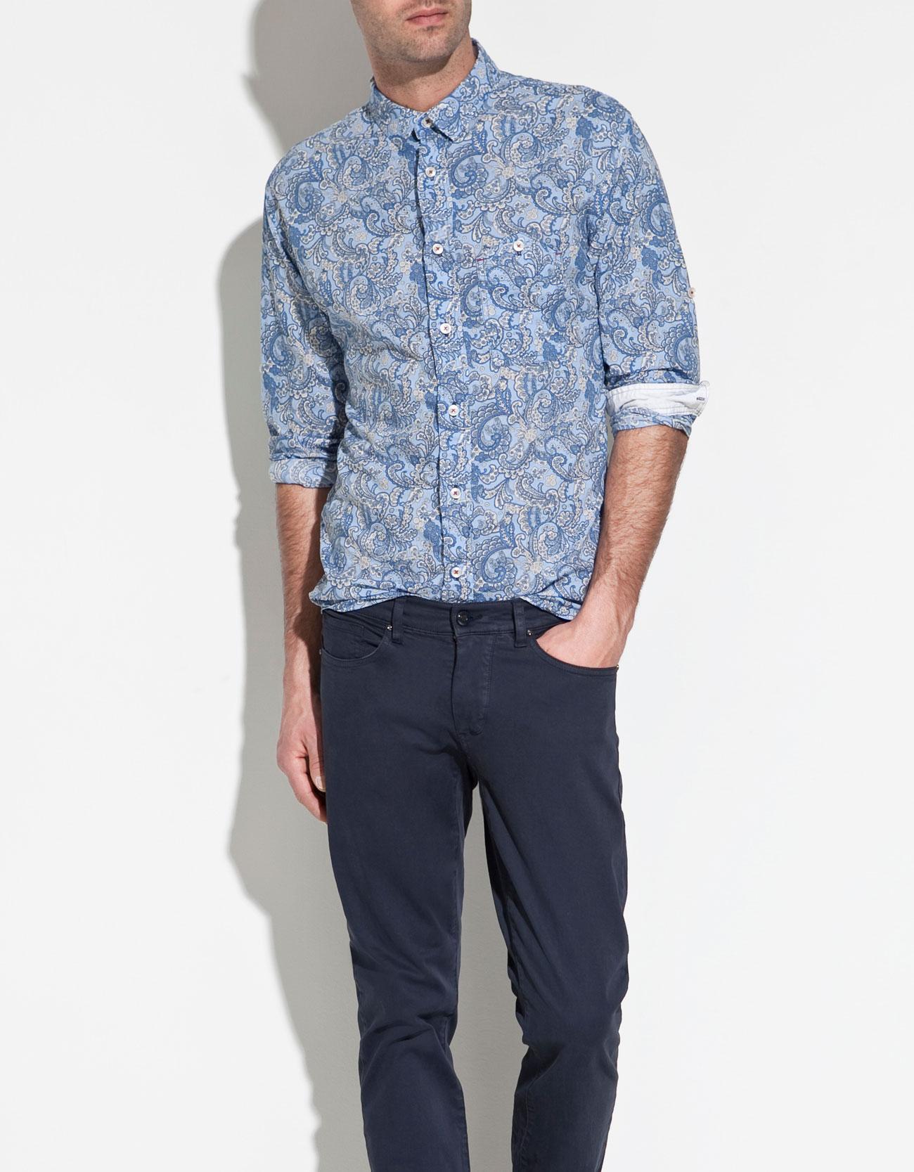 Zara Printed Floral Shirt in Blue for Men | Lyst