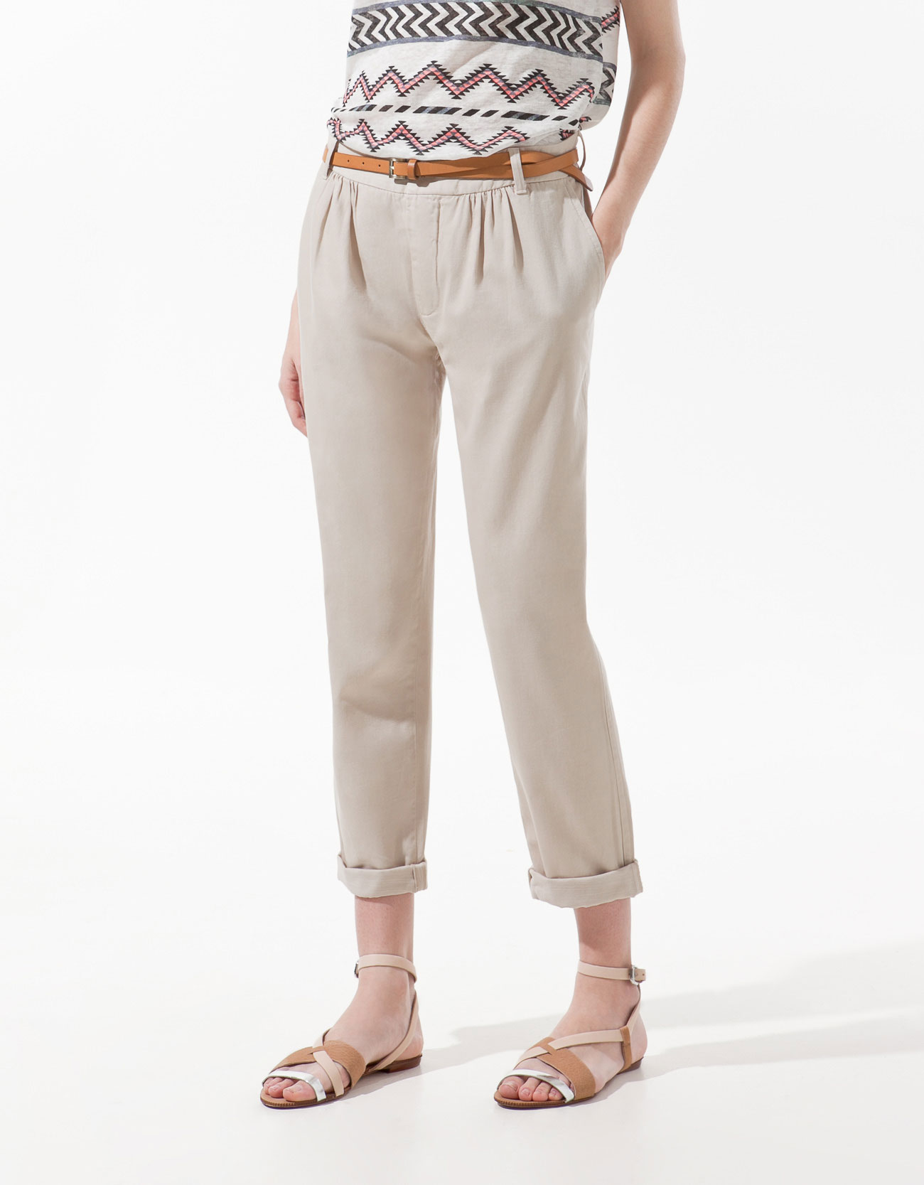Zara Pleated Trousers in Natural | Lyst
