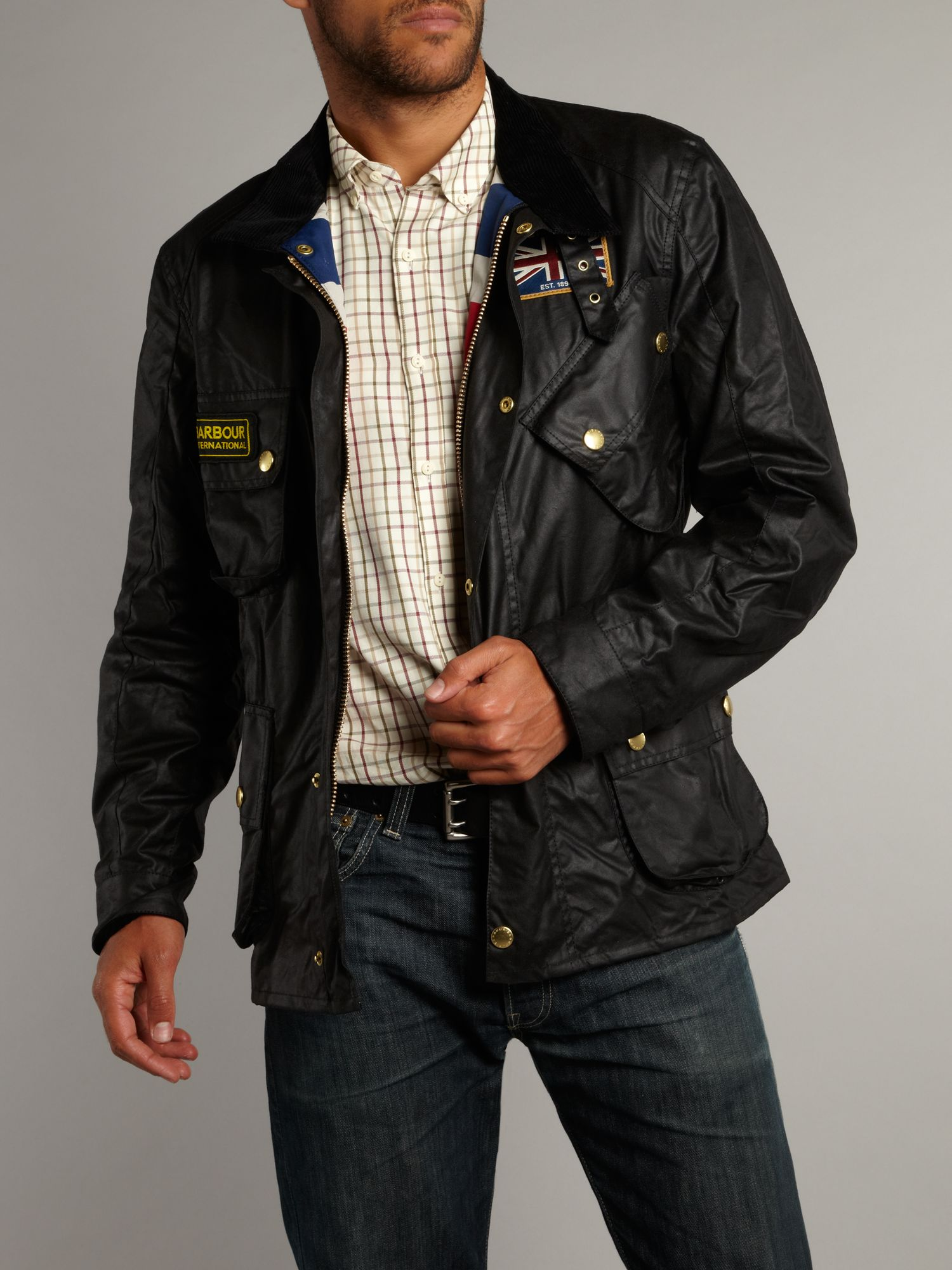lyst barbour union jack lined motorcycle jacket in black
