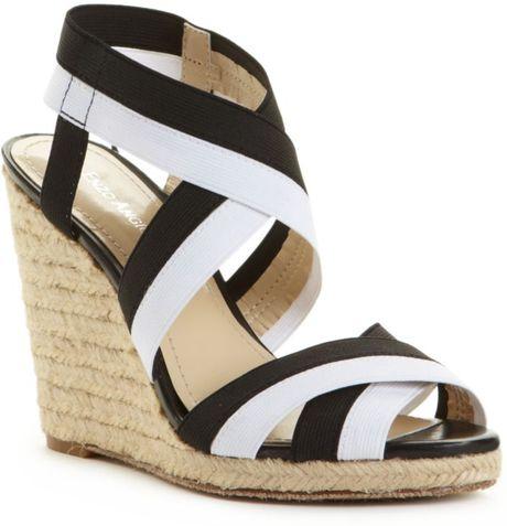 enzo angiolini idyll wedge sandals in black black white
