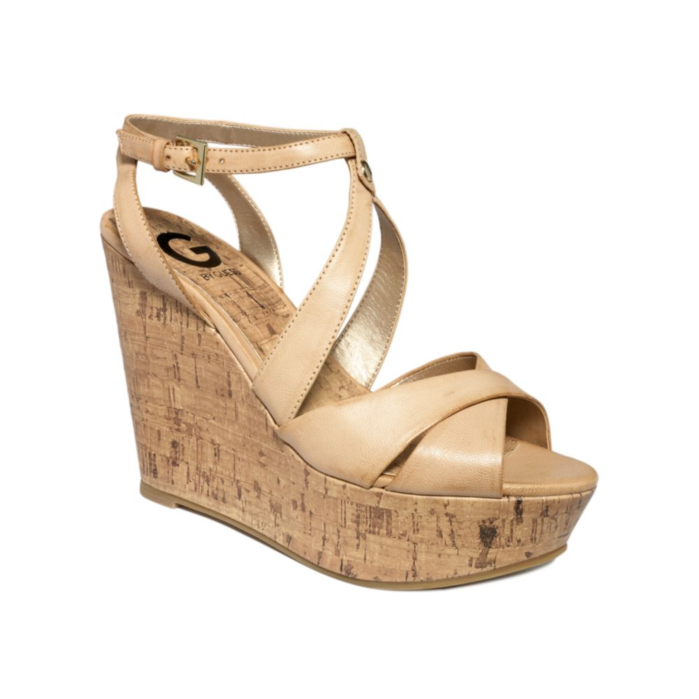 g by guess tenor platform wedge sandals in lyst