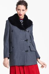 Marni Edition Shearling Collar Wool Cashmere Coat - Lyst