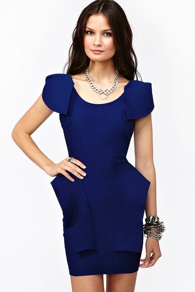 Nasty Gal Victoria Peplum Dress Cobalt in Blue (cobalt)