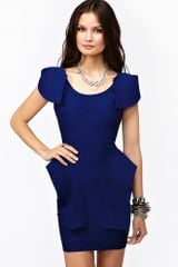 Nasty Gal Victoria Peplum Dress Cobalt - Lyst