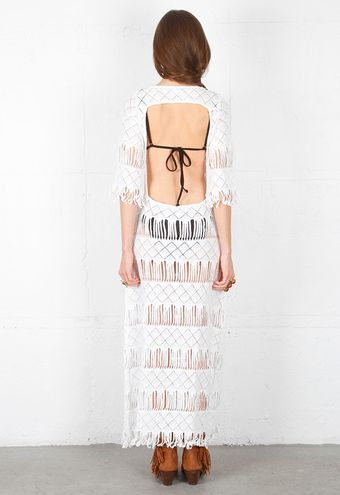 Nightcap Clothing Nightcap Clothing Long Fringe Dress in White - Lyst