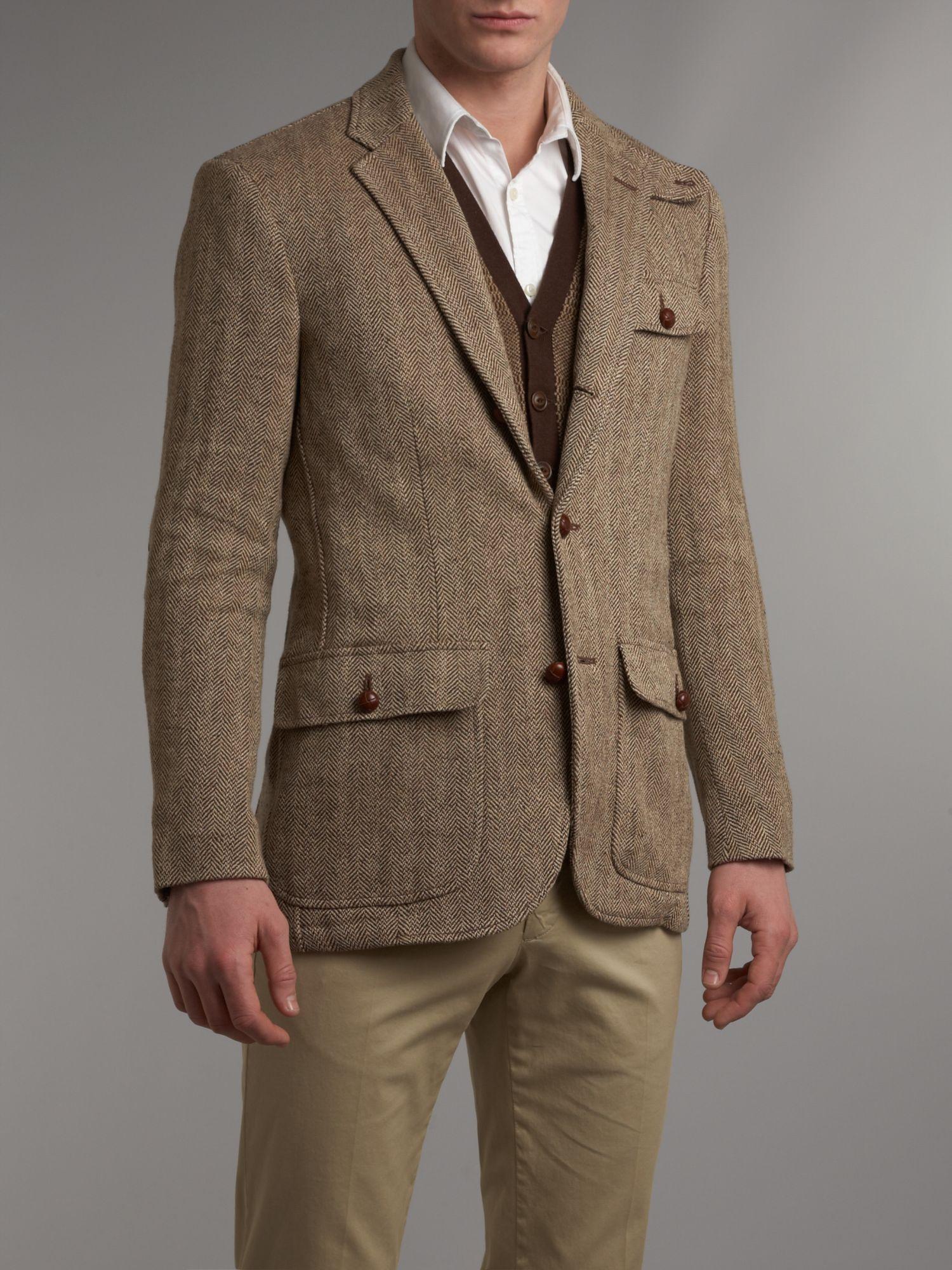 Polo ralph lauren Tweed Blazer in Brown for Men | Lyst