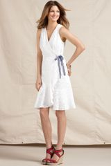 Tommy Hilfiger Sleeveless Eyelet Cotton Wrap Dress