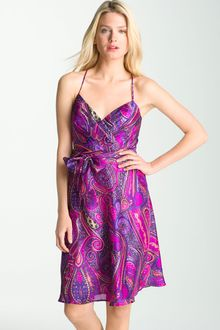 Trina Turk Devendra Paisley Print Silk Surplice Dress - Lyst