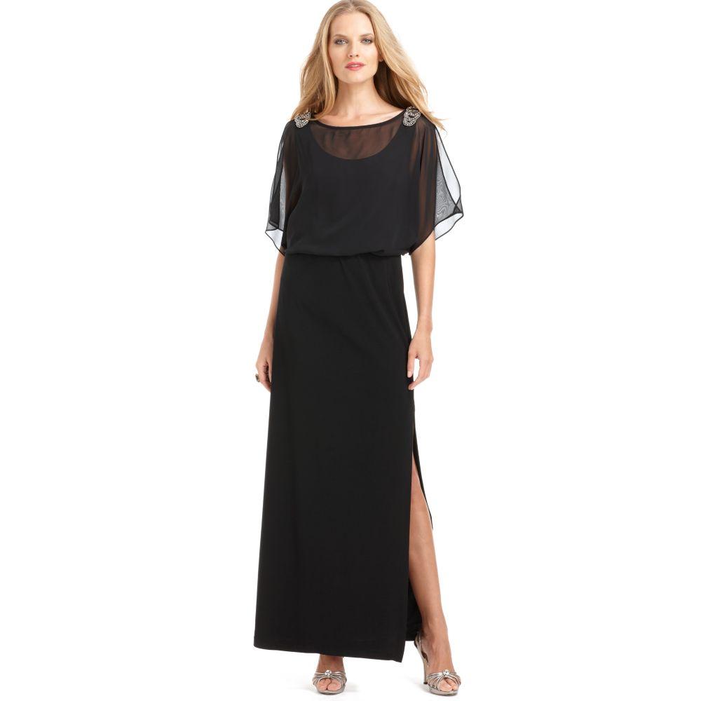 Xscape Plus Size Dress Short Split Sleeve Beaded Evening Gown