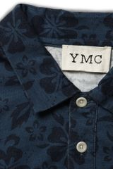 Ymc Hibiscus Print Cotton Polo Shirt in Blue for Men (hibiscus) - Lyst