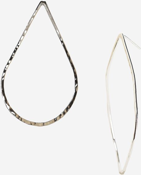 Argento Vivo Hammered Teardrop Hoop Earrings in Silver - Lyst