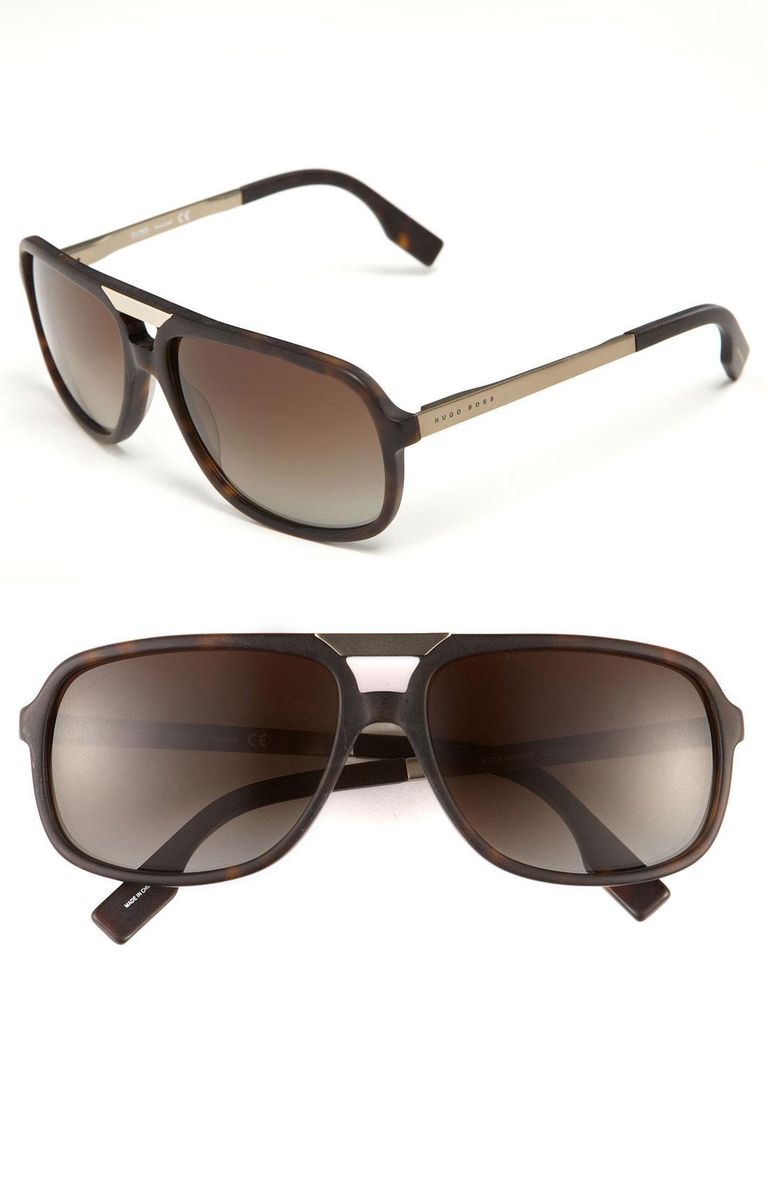 Boss Black Polarized Aviator Sunglasses in Black for Men ...
