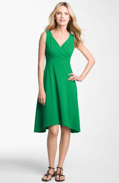 Eileen Fisher Surplice Vneck Jersey Dress in Green (emerald) - Lyst