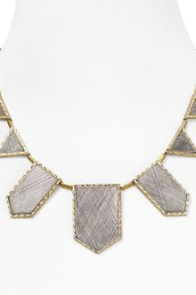 House Of Harlow 14kt Plated Two Tone Engraved Station Necklace  - Lyst