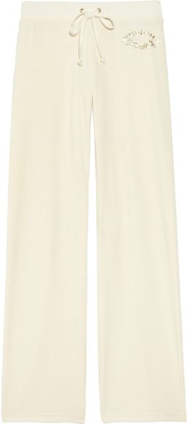Juicy Couture Velour Track Pants in Beige (cream) - Lyst