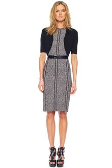 Michael Kors Merino Half sleeve Shrug Cady Tweed Belted Sheath Dress - Lyst