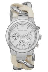 Michael Kors Womens Chronograph Runway Twist Alabaster Acetate and Silver Tone Stainless Steel Bracelet 38mm - Lyst