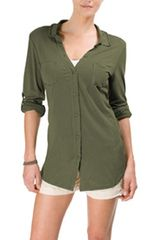 Michael Stars Luxe Slub Raw Edge Button Down Top - Lyst