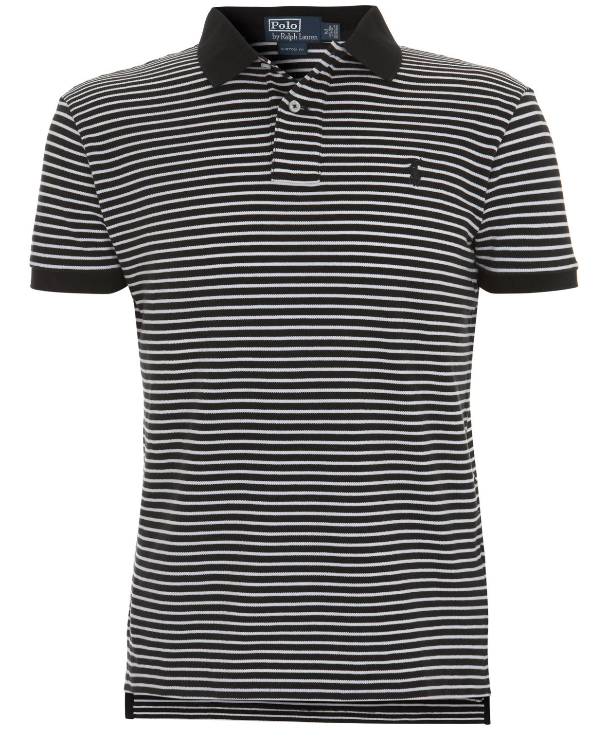Polo Ralph Lauren Black and White Thin Stripe Polo Shirt in Black ... 9b75230e353f