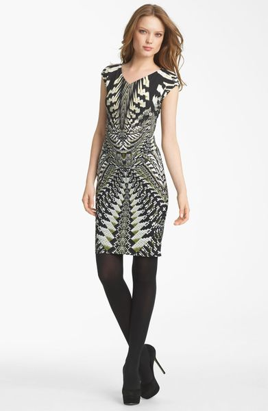 Roberto Cavalli Geo Print Jersey Dress in Gray (black white) - Lyst