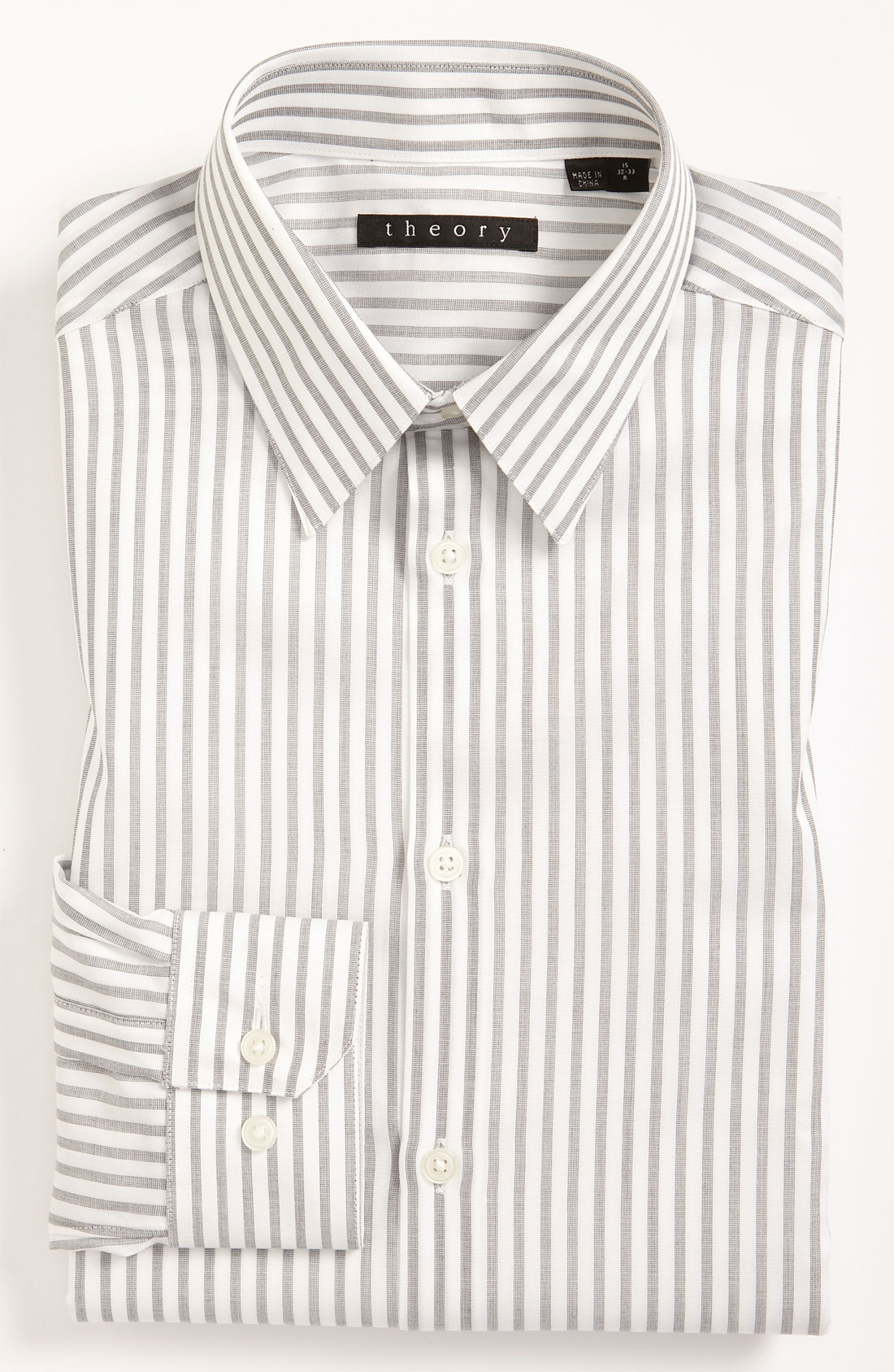 Theory extra trim fit dress shirt in gray for men white for Extra trim fit dress shirt