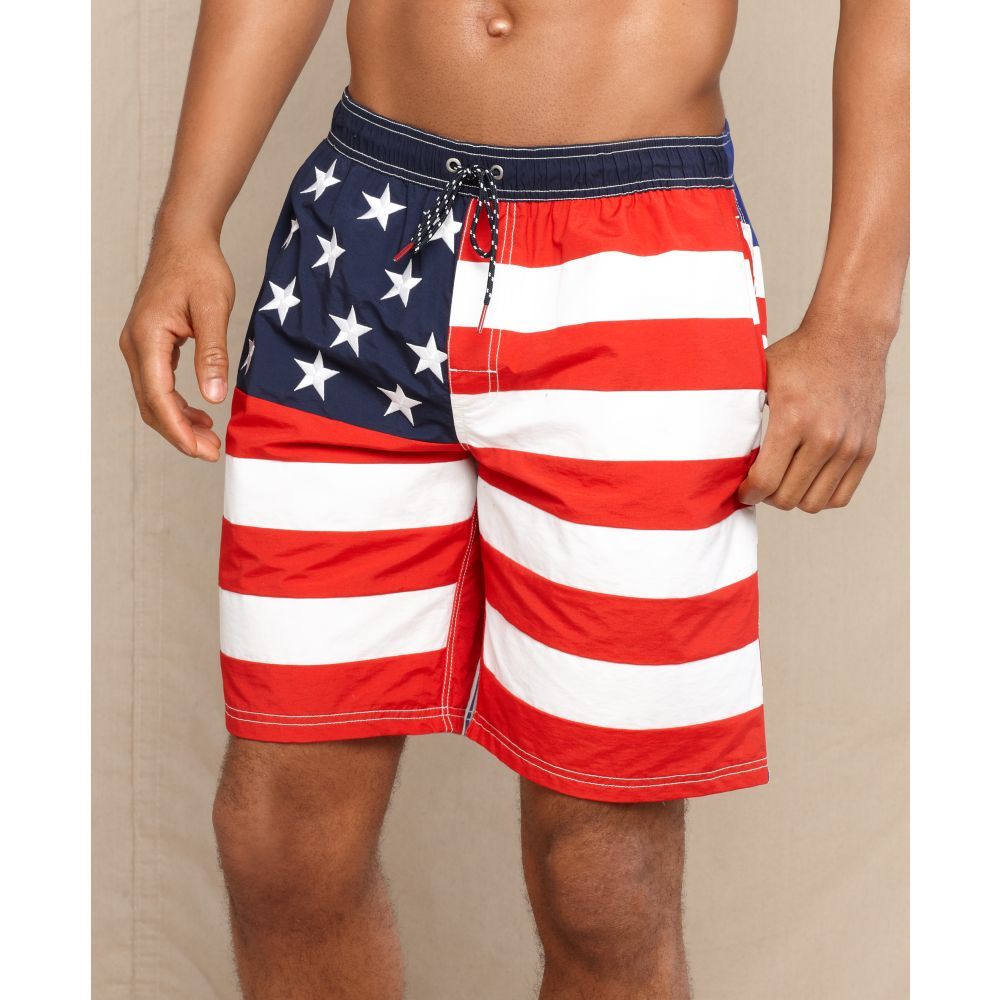 e8aecd04a8 Tommy Hilfiger 'Stars and Stripes' Swim Trunks in Blue for Men - Lyst