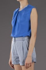 3.1 Phillip Lim Draped Top in Blue - Lyst