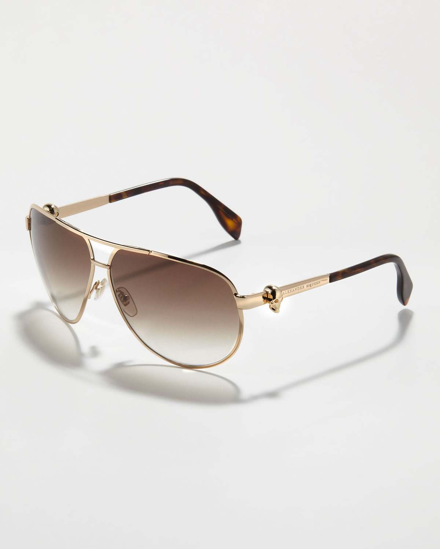 52e222a9ade1b Alexander McQueen Skull-Temple Aviator Sunglasses in Brown for Men ...