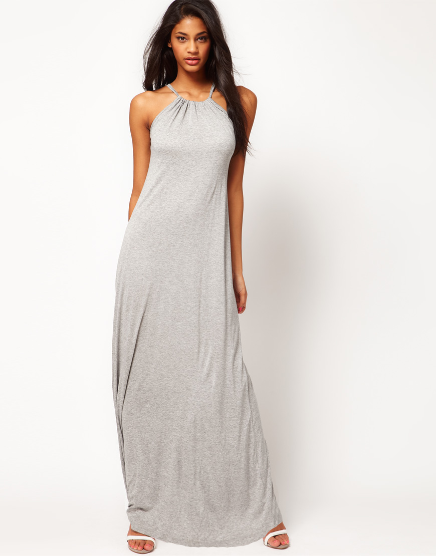 Grey halter maxi dress