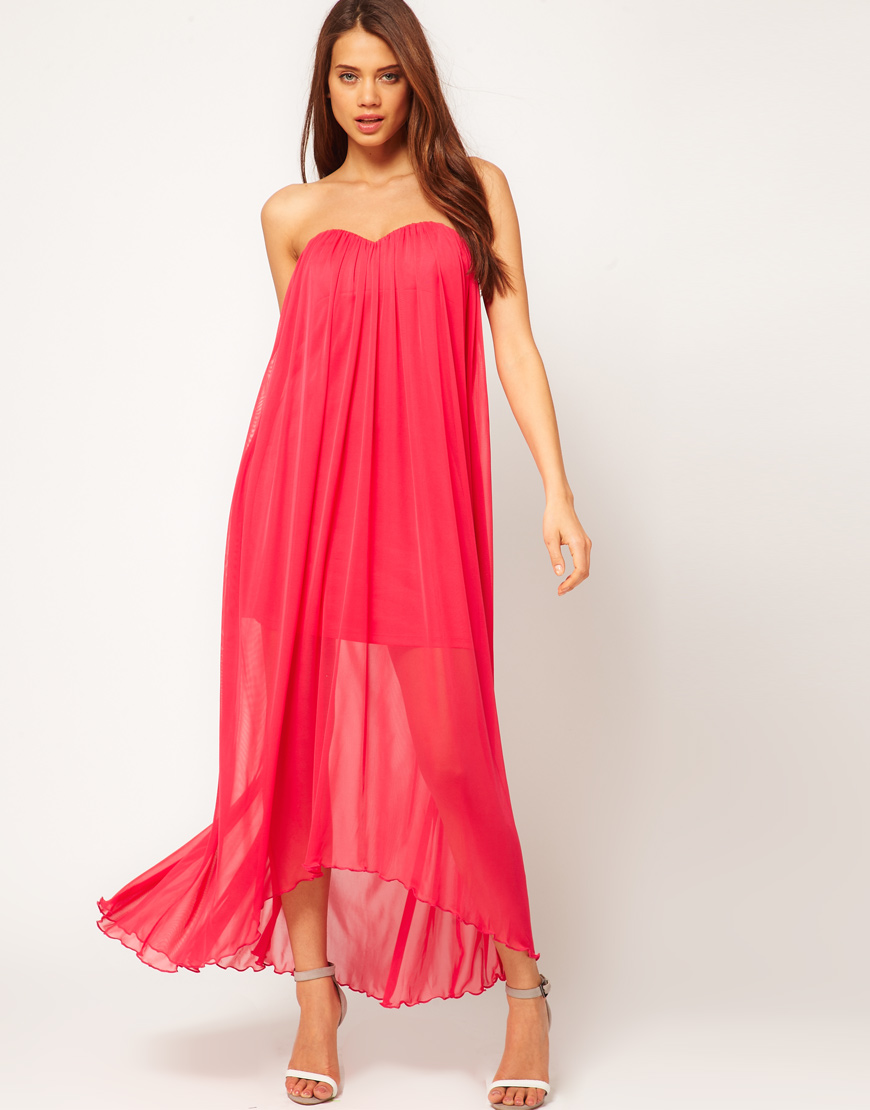 6d9d8755e6ea ASOS Collection Asos Strapless Maxi Dress in Mesh in Pink - Lyst