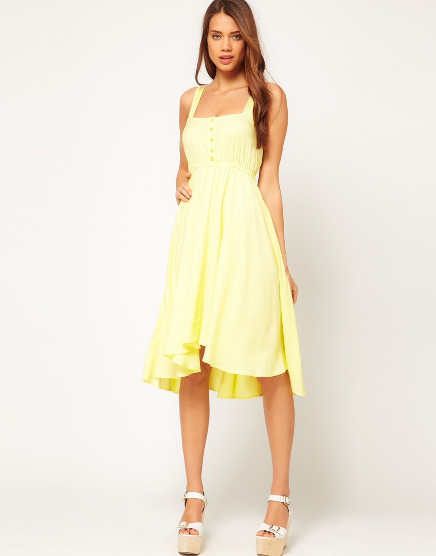 ff03d451c64 ASOS Midi Summer Dress with Bow Back in Yellow - Lyst
