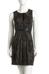 Cynthia Steffe Leather Trimmed Jacquard Dress - Lyst