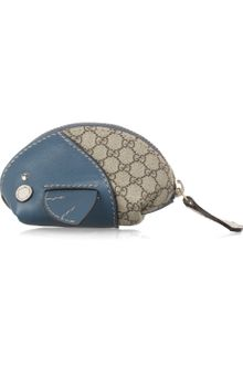 Gucci Moby Dick Leather and Canvas Coin Purse - Lyst