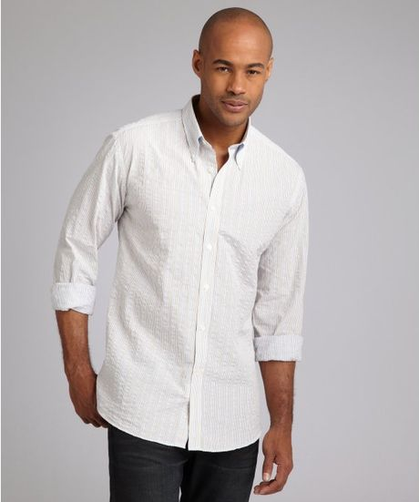 Hickey freeman striped cotton button down shirt in white for White shirt brown buttons