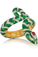 Kenneth Jay Lane 22karat Gold-Plated Crystal Snake Bracelet - Lyst