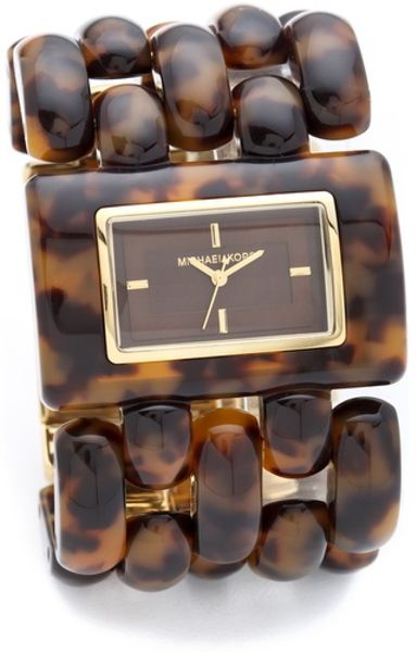 Michael Kors Rio Tortoise shell Watch in Brown (gold)