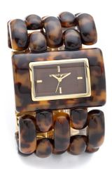 Michael Kors Rio Tortoise shell Watch in Brown (gold) - Lyst