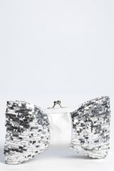 Natasha Couture Sequin Bow Clutch - Lyst