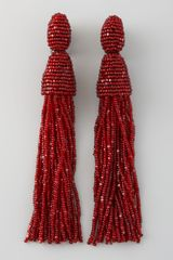 Oscar de la Renta Beaded Tassel Earrings Garnet - Lyst