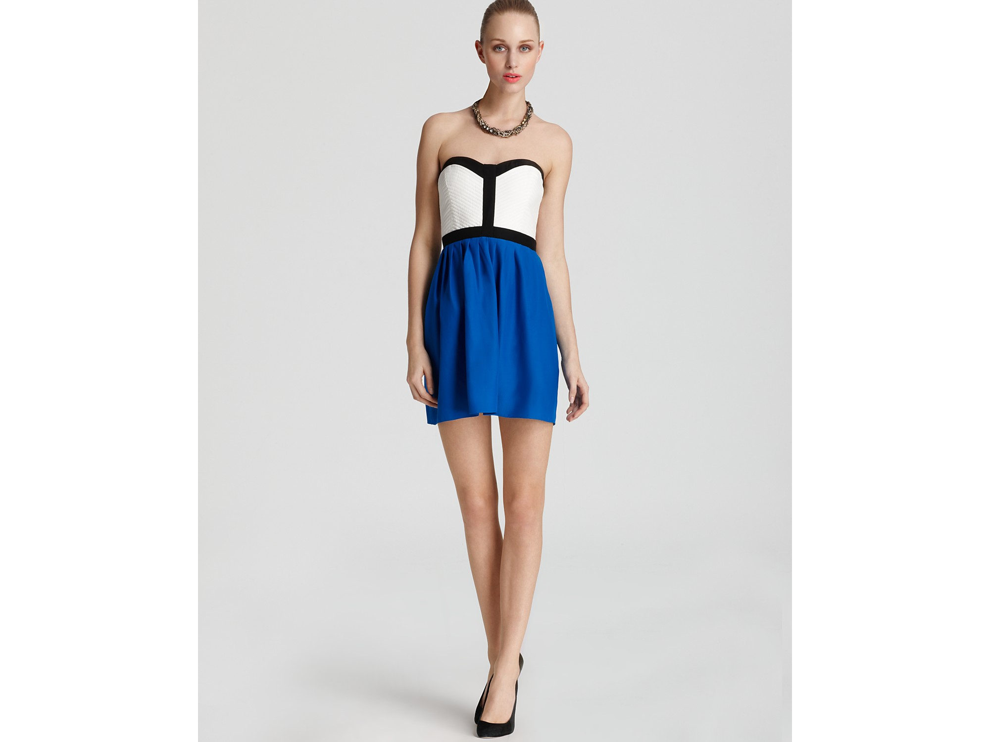 Parker Dress Quilted Strapless in Blue - Lyst