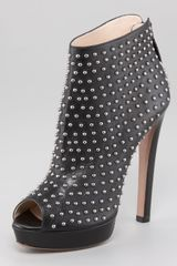 Prada Studded Leather Peep Toe Ankle Boot - Lyst