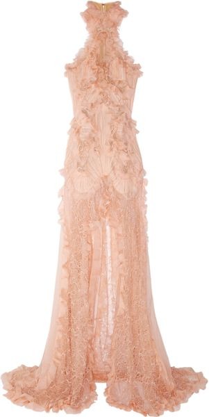 Alexander McQueen Ruffled Bead Embellished Chiffon and Lace Gown - Lyst