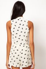 Asos Collection Asos Pussybow Playsuit With Elephant Print in White (print) - Lyst