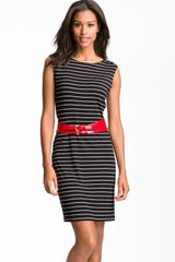 Calvin Klein Belted Stripe Jersey Sheath Dress - Lyst