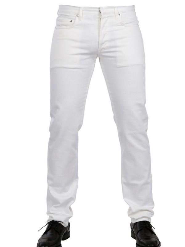 dior homme cotton denim jeans in white for men lyst. Black Bedroom Furniture Sets. Home Design Ideas